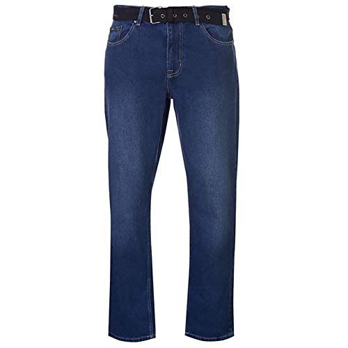 Pierre Cardin Mens New Season Regular Fit Belted Jeans (34 L, Vintage Blue)