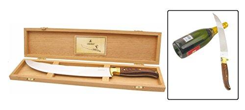LAGUIOLE Champagne Säbel Champagner + gratis Solinger Messer Saber Sekt Säbel XXL 42 cm + Holzbox