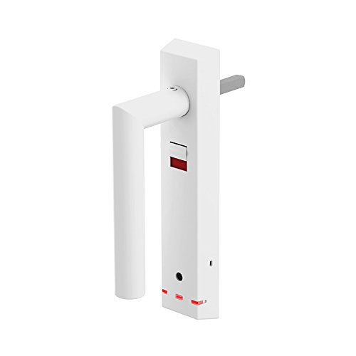 LOCKSTAR Straight Standard Weiß - Fenstersicherheitsgriff, Alarmgriff, Einbruchschutz und Sicherung für Fenster Sowie Balkon- und Terrassentüren.