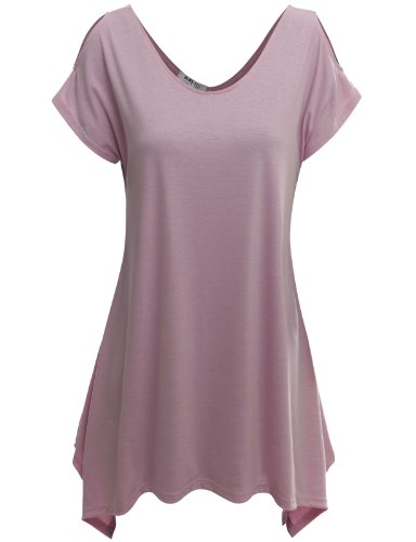 Doublju Womens Short Sleeve Cut-Out Shoulder Tunic Blouse Top PINK LARGE