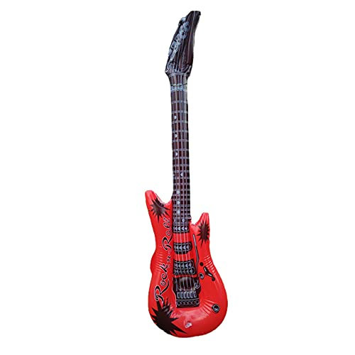 Inflatable Guitars for Kids Party,Inflatable Guitar - Blow Up Electric Guitars Assorted Colors, Waterproof Inflatable Rock Star Guitar Toy for Musical Concert Themed Party Favor (Red)