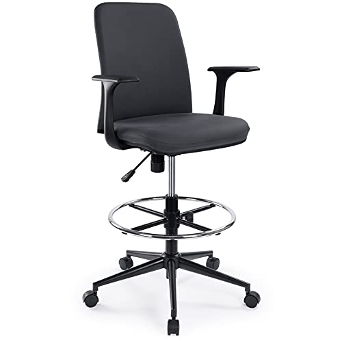 Ergonomic Mid-Back Premium Fabric Adjustable Drafting Chair with Foot Ring, Standing-Desk Matched Tall Swivel Computer Office Stool, Dark Grey