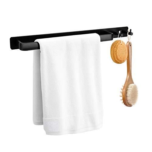 HIRALIY Handtuchhalter Ohne Bohren, Geschirrtuchstange Aluminium Matt Schwarz, Klebend Badetuchhalter für den Bad und Küche, inkl. Befestigungsmaterial (schwarz)
