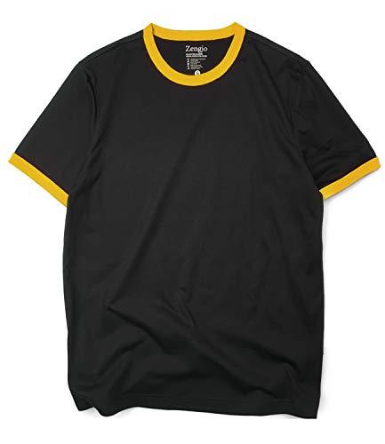 Mens Ringer T Shirt Crew Neck Retro T Shirts for Men(M,Black/Yellow)