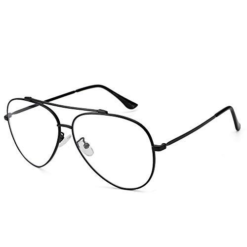Cyxus Anti luz Azul Bloqueo UV Gafas Lente Amarilla Puente Doble contra la Fatiga Ocular Gafas Aviador Unisex (Negro) (Lente Transparente Marco Negro)
