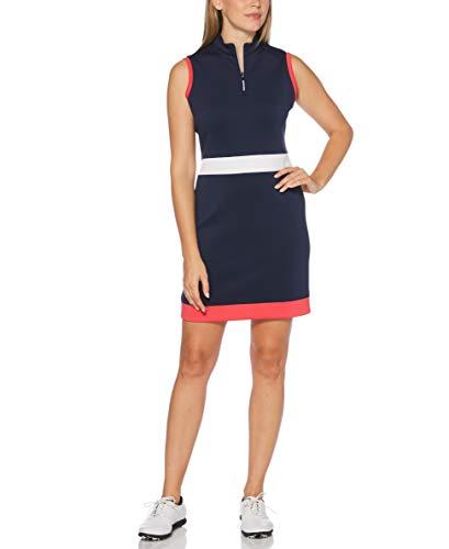 PGA TOUR Women's Sleeveless Golf Dress, Brilliant White Color Block, XL