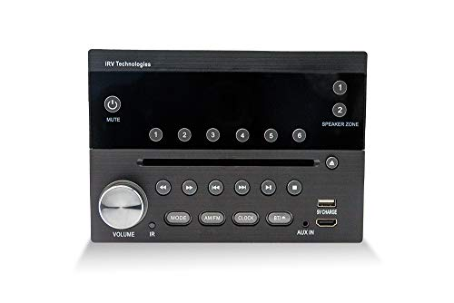 iRV Technology IRV31 Am/FM/CD/DVD Rv Radio Stereo 2 Zones Wallmount Receiver 2.1 Channels Surround, 5""