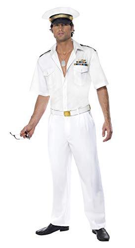 Smiffys, Herren Top Gun Kapitän-Kostüm, Hemd, Hose und Hut, Top Gun, Größe: L, 32896
