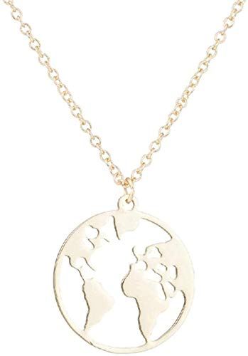 BACKZY MXJP Necklace Cool Stainless Steel World Map Necklace Pendant Women Stainless Steel Necklace Ornament