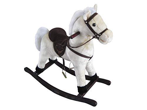 The Rocking Horse Co Peluche Bianco Cavallo a Dondolo - Morbido Finitura - Completo con Suoni - su Solido Legno Rockers