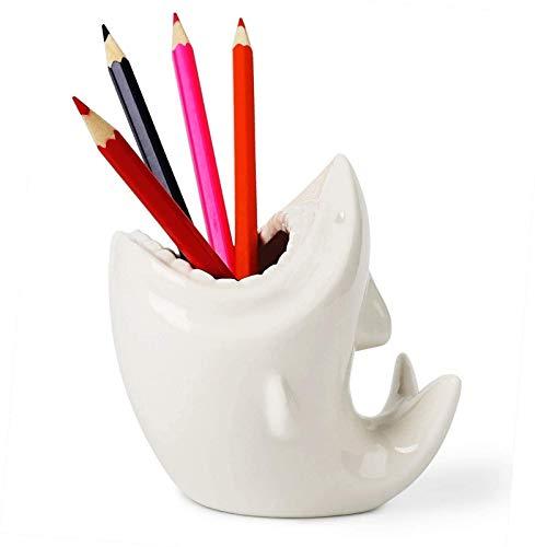GCX- Tenedor de lápiz de Pluma en Forma de tiburón Lindo, macetas de cerámica de cerámica Blanca para la organización de Escritorio de decoración de Oficina en casa, Conjunto de 1 Exquisito