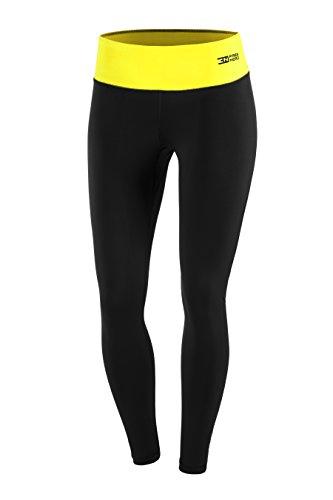 Fittech Performance Legging long thermoactif pour femme, collant, pantalon pour fitness, yoga, sports d'extérieur, cyclisme, course à pied XL noir/jaune