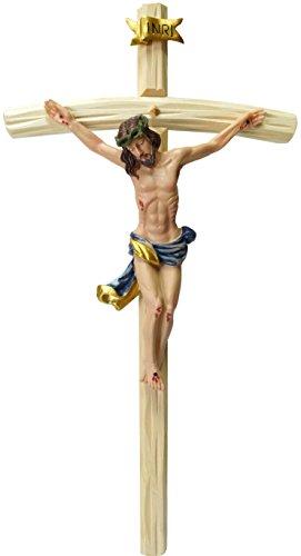 Kaltner Präsente Geschenkidee - 50 cm Wandkreuz Kruzifix mit Jesus Christus Figur auf Kreuz aus Holz von Hand bemalt