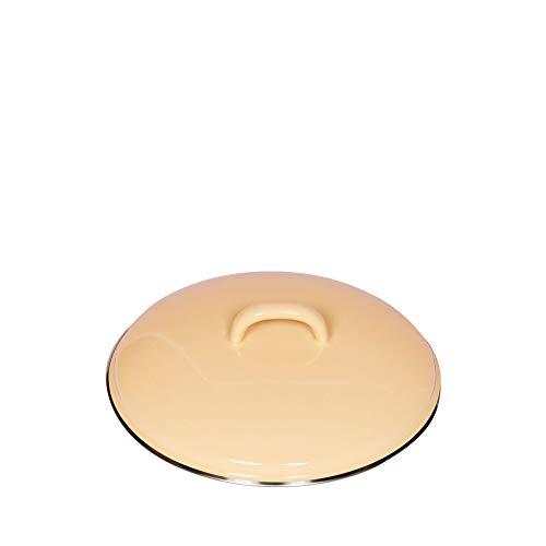 Riess, 0099-006, Deckel mit Chromrand 20, CLASSIC - BUNT/PASTELL, Farbe Goldgelb, Durchmesser 20 cm, Höhe 5,6 cm, Emaille, optional zu Töpfen und Kasserollen