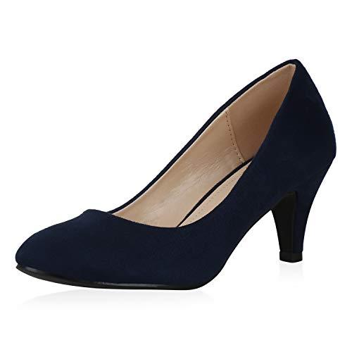 SCARPE VITA Damen Klassische Pumps Stiletto Elegante Abendschuhe Klassische Party Schuhe 195681 Dunkelblau 36