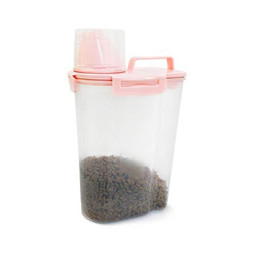 Yhtxa Luftdichter Futtertonne Aufbewahrungsbehälter für Tiernahrung mit Abgestuftem Messbecher Ausguss, 4 Verschlussschnallen für 2,5 l Hunde, Katzen, Futter, Vogelfutter (Pink)