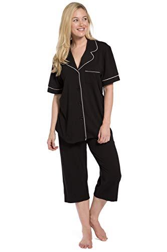 Fishers Finery Organic Cotton Plus Size Pajamas for Women (Black, XXL)