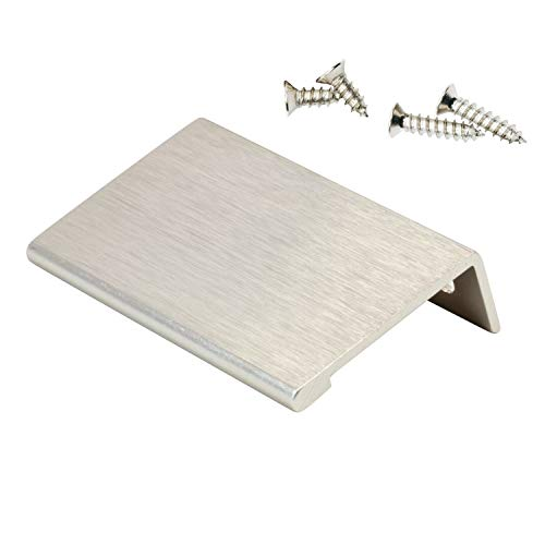 10 Pack Rok Hardware 1-31/32' Hole Centers Modern Style Finger Edge Pull Aluminum Metal Brushed Stainless Steel Finish Home Kitchen Door Drawer Cabinet 2-3/4' Length Handle P898950SS