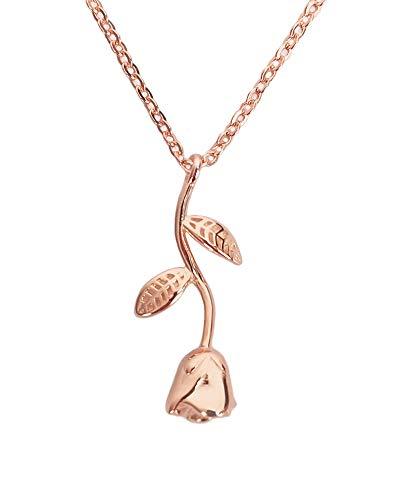 Nikita by Niki®, collana con pendente a forma di delicata rosa con gambo e lega di zinco, colore: White, cod. M-RS