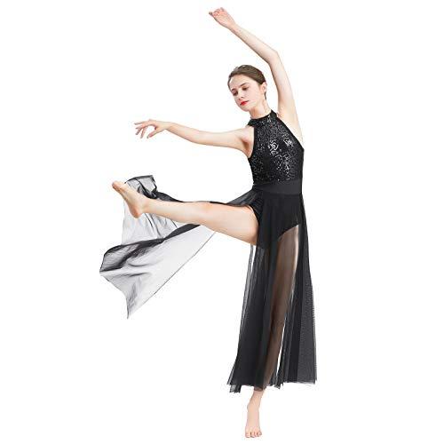 ODASDO Women Lyrical Dance Dress Modern Contemporary Dancewear Sleeveless Halter Backless Shiny Sequins Leotard Bodysuit Mesh Tulle Flowy Maxi Long Skirt Ballet Costume Black XL