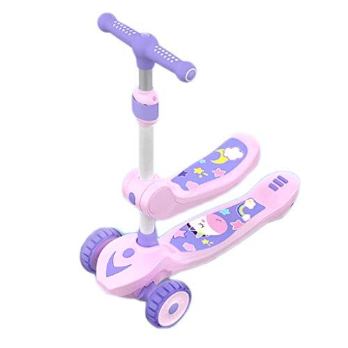 Scooter para niños Puede sentarse y andar patadas Scooter para niños - Altura ajustable con cubierta extra de ancho PU Wheels Flashing Wheels Great Kids Scooter y scooters para niños pequeños Scooter