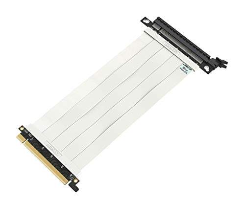 LINKUP - Ultra PCIe 4.0 X16 Riser Cavo [RTX3090 RX6900XT Testato] Schermato ad Alta velocità Verticale Estensione Flessibile┃Presa Dritta {20cm} Compatibile con PCI Express 3.0 Gen3 e TT - Bianca