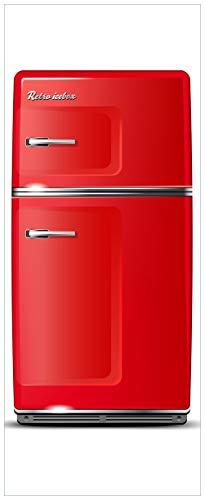 Wallario XXL Poster - Roter Kühlschrank in Premiumqualität, Größe: 80 x 200 cm