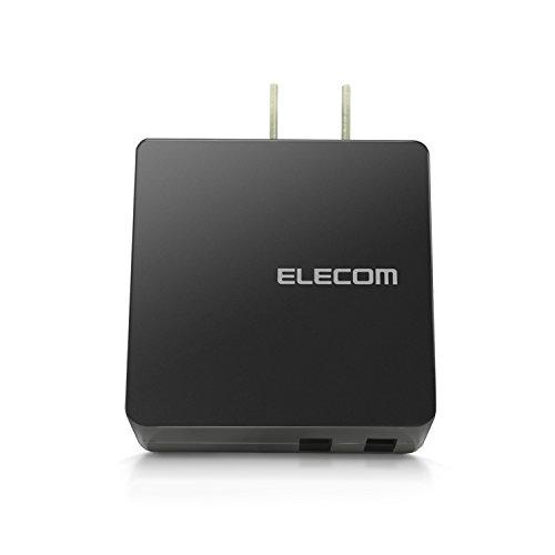 エレコム USB コンセント 充電器 合計2.0A Aポート×2 【 iPhone / Android / タブレット 対応 】 ブラック MPA-ACUCN005ABK