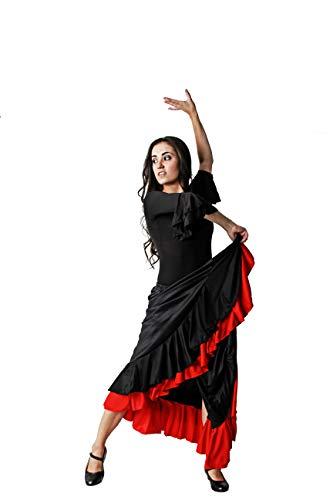 Costumizate! Falda Doble Volante Negro con Rojo/Falda de ensayo con Doble Volante Negra y roja para Mujer Adulta Talla L