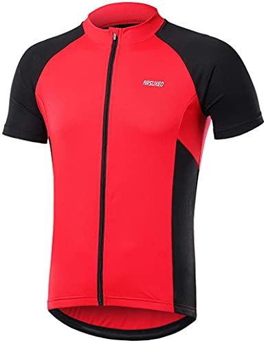 NOPEXTO Men's Short Sleeves Cycling Jersey,Men's Reflective Short Sleeve Cycling Jersey with Zipper Pocket Quick-Dry Breathable Biking Shirt (Rojo,L)