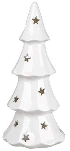 dekojohnson modernes Windlicht-Baum Kerzenhalter Weihnachtsbaum Teelichthalter Christbaum Weiss mit Stern 22x50cm groß