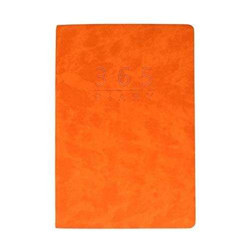 Ny Agenda 2021 A5 Planner Svenska Språktidningen Läder Soft Cover School Notebook Fixed, Monsteramy (Color : Orange)