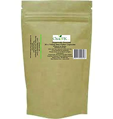 Organic Bee Pollen Capsules 700mg | Soil Association Certified Organic | 120 Vegetarian Capsules (HPMC)| Best Quality Organic Spanish Bee Pollen| Made in UK (120 Capsules in Bio Degradable Pouch)