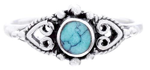 WINDALF Mittelalter Boho Ring MELINA h: 0.8 cm Lucky Türkis Amulett Vintage Hochwertiges Silber (Silber, 56 (17.8))