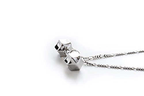 Fit Selection Star Dumbbell Necklace Sterling Silver Fitness Jewelry Barbell Charm Gym Pendant