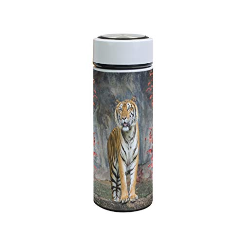 XiangHeFu lekvrije sport-thermosfles Red Leaf Forest Tiger Travel Mok koud- of warmwaterfles van roestvrij staal bewaren