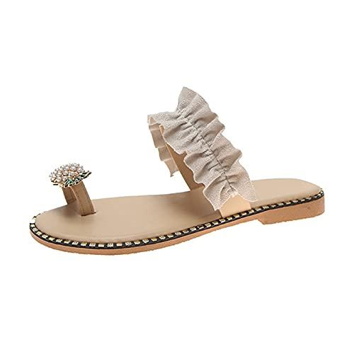 Heshan Zapatillas de verano con forma de piña sandalias de cristal de punta abierta de una sola correa antideslizante suela plana