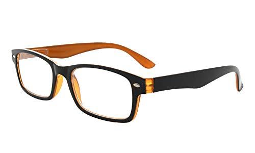 Kunststoff Fassung Lesebrille mit Federscharniere in Schwarz-Gelb mit Brillenetui +1.25