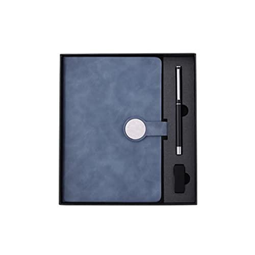 Guomipai Caja de Regalo Book Diario Personalizado Creativo Simple Multifuncional Portátil Portátil Portátil Fondo Cuaderno (120 Hojas) (Color : B Blue+Pen+u Disk Set)