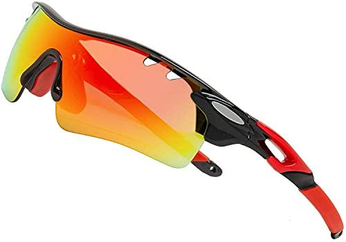 Gafas de sol polarizadas deportivas para hombres y mujeres con 3 lentes intercambiables para pesca de béisbol Gafas de ciclismo (Negro+Rojo)