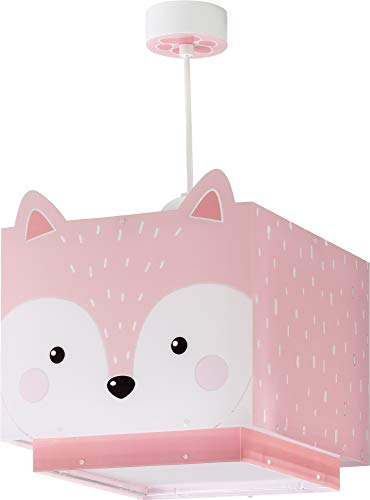 Dalber Little Fox Lámpara Infantil de Techo Zorro Animales, 60 W, Rosa