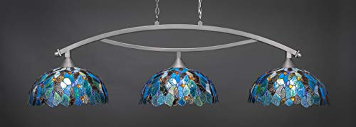 Toltec Lighting 873-BN-995 Bow - Three Light Billiard, Brushed Nickel Finish with Blue Mosaic Tiffany Glass