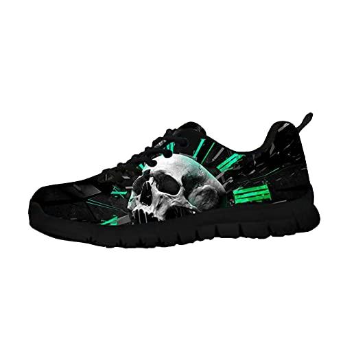 Howilath Skull Women Sneakers, Green Clock Skull Zapatos Caminar para Mujer, Casual Running Sports Antideslizante Hombres Mujeres Zapatillas Tenis EU 44
