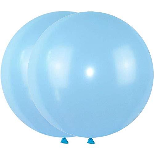 DIWULI, 2 Stück gigantische XXL Pastell Luftballons, Riesen Luftballons, Pastellfarben Latex-Ballons, Latexluftballons, Pastell-Ballons für Partydeko, Deko Hochzeit, Jumbo Ballons (blau)