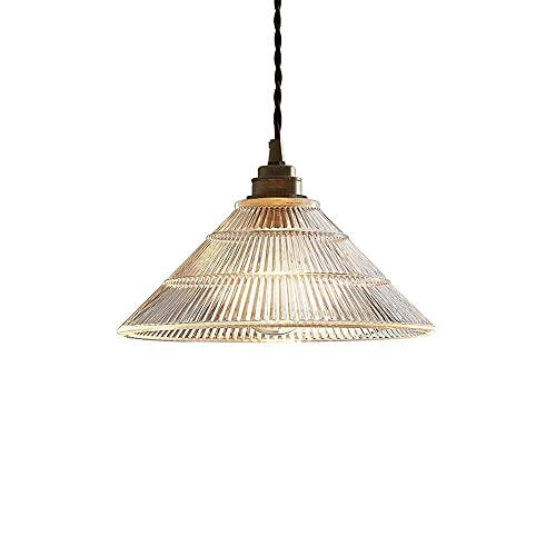 BABYCOW Lámpara de suspensión Vintage, Pantalla de Techo de Metal de Vidrio Transparente, iluminación Colgante Simple, lámpara Colgante para Dormitorio, Comedor, lámpara de Espejo, Cocina, zócalo E2