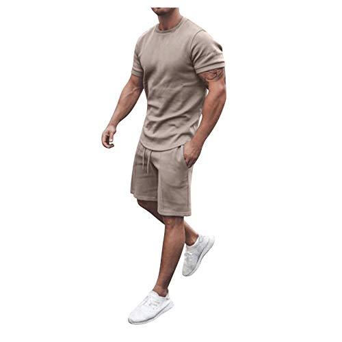 riou Hombres Camiseta Chandal Conjunto Verano Algodón Corto Manga Tee Pantalones Ropa Deportiva Sudaderas Color sólido Chándales 2 Piezas