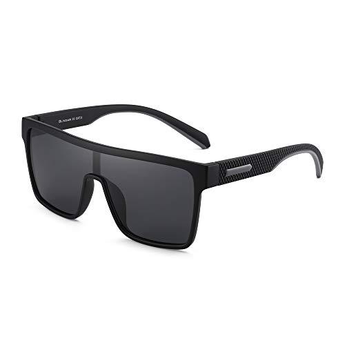 GLINDAR Gafas de Sol con Protección Polarizada Para Hombre Gafas Deportivas con Parte Superior Plana y Cuadrada Marco Negro / Lente Gris