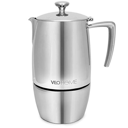 VeoHome Mokka Pot Espressokocher 10 Tassen 500 ml - Edelstahl italienische Mokka kanne Induktionsherd, Gas, Keramik, Elektrik ohne Aluminium - Doppelfilter-Technologie
