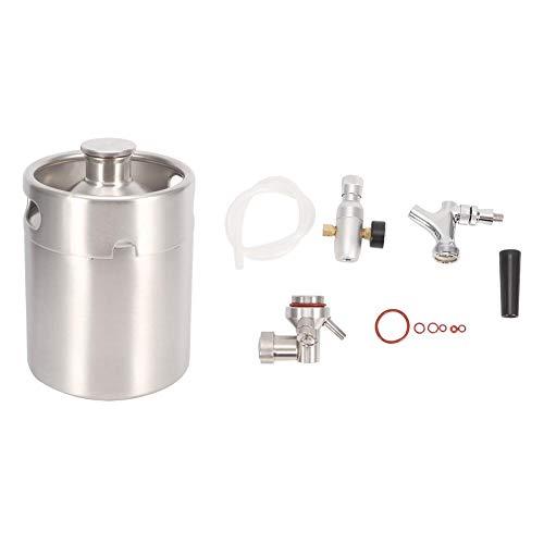 Homebrew Keg System Kit, mit Edelstahl-Bierfass (2 l)/Silikonring/Schlauch/Griff/Wasserhahn/Dekompressionstisch/Weinhersteller-Körper - ideal für Partys