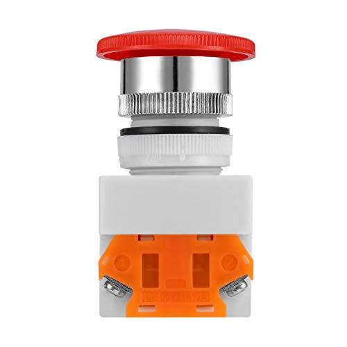 WEQQ NC N/C Interruptor de Parada de Emergencia Botón pulsador Botón Tipo Hongo Terminal de 4 Tornillos (Blanco)